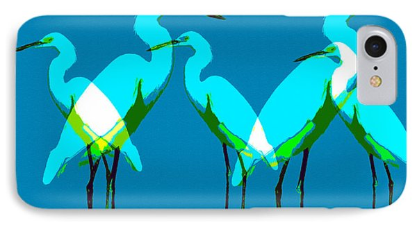 IPhone Case featuring the painting Five Egrets by David Lee Thompson