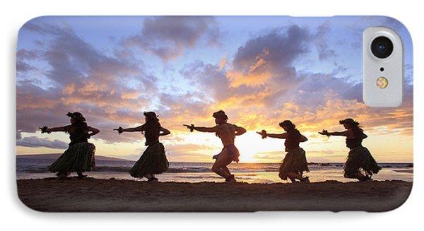 Five Hula Dancers At Sunset At The Beach At Palauea Phone Case by David Olsen