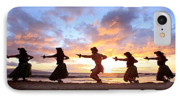 Five Hula Dancers At Sunset Phone Case by David Olsen