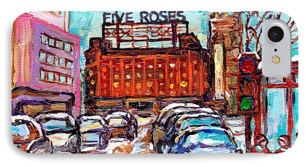 Five Roses Sign Montreal Landmark Marquee Street Hockey Painting Canadian Artist Carole Spandau      IPhone Case by Carole Spandau