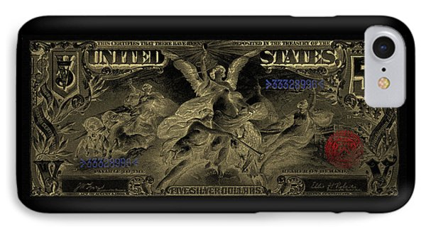 IPhone Case featuring the digital art Five U.s. Dollar Bill - 1896 Educational Series In Gold On Black  by Serge Averbukh