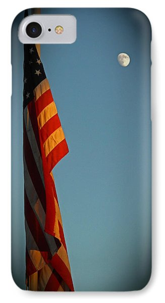 Flag And The Moon IPhone Case by Charles Ables