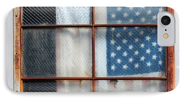 Flag In Old Window IPhone Case by Cheryl Del Toro