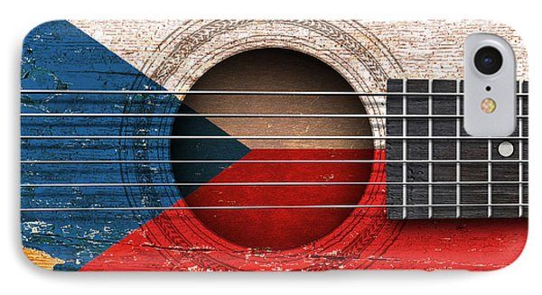 Flag Of Czech Republic On An Old Vintage Acoustic Guitar IPhone Case by Jeff Bartels