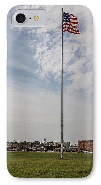 Flag Poll At Detroit Tiger Stadium  IPhone Case by John McGraw