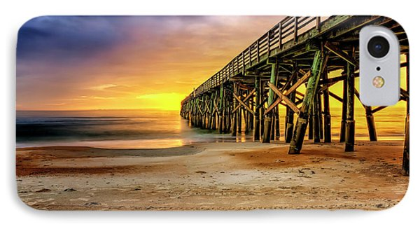 Flagler Beach Pier At Sunrise In Hdr IPhone Case