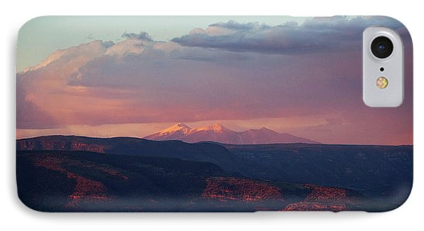 IPhone Case featuring the photograph Flagstaff's San Francisco Peaks Snowy Sunset by Ron Chilston