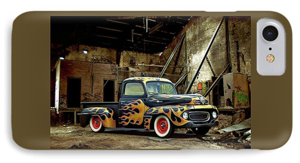 IPhone Case featuring the photograph Flamed Pickup by Steven Agius