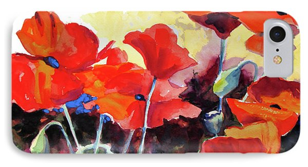 IPhone Case featuring the painting Flaming Poppies by Kathy Braud