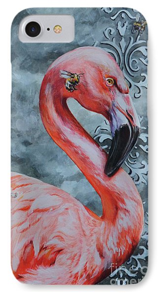 Flamingo And Bees IPhone Case