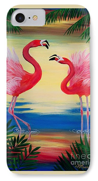 IPhone Case featuring the painting Flamingo Courtship Dance by Patricia L Davidson
