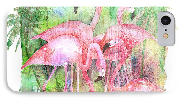 Flamingo Five IPhone Case by Arline Wagner