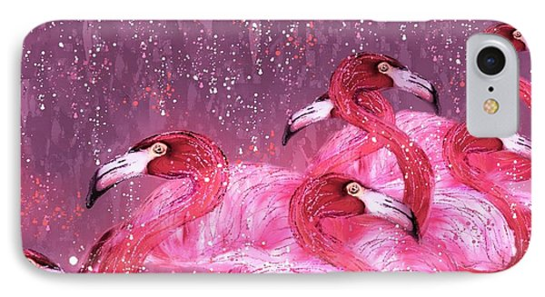 Flamingo Frenzy IPhone Case by Barbara Chichester