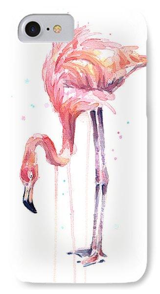 Flamingo Illustration Watercolor - Facing Left IPhone 7 Case
