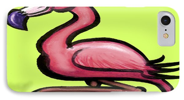 IPhone Case featuring the painting Flamingo by Kevin Middleton