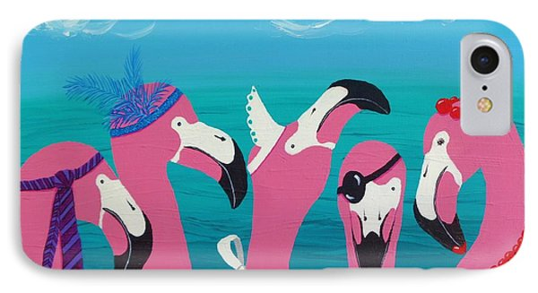 IPhone Case featuring the painting Flamingo Party by Katherine Young-Beck