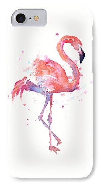 Flamingo Watercolor Facing Right IPhone Case by Olga Shvartsur