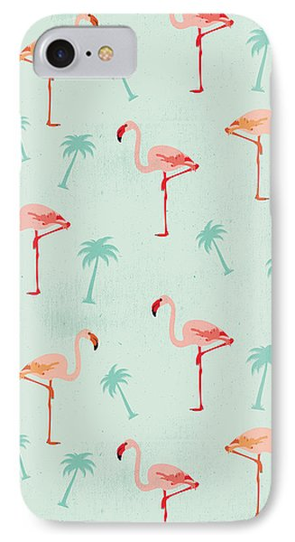 Flamingos And Palm Trees IPhone Case by Vitor Costa