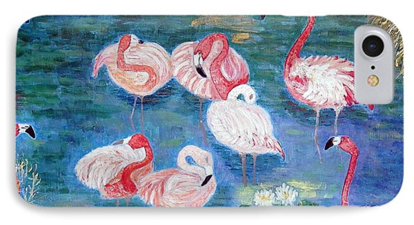 Flamingos Diptich Right IPhone Case by Vicky Tarcau