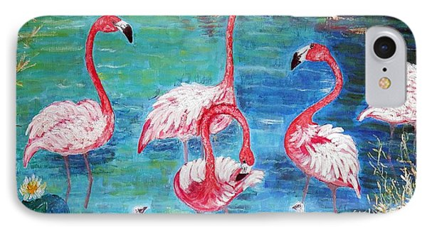 Flamingos Diptich Left IPhone Case by Vicky Tarcau