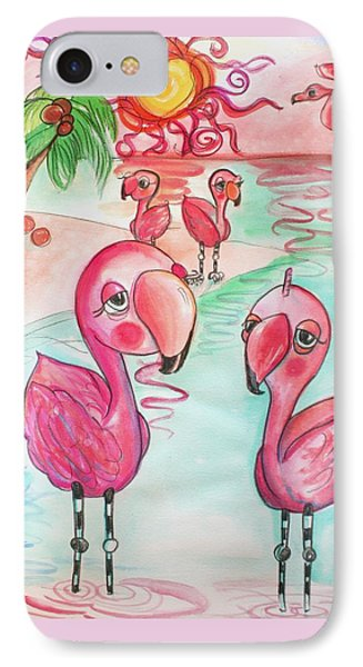 Flamingos In The Sun IPhone Case by Shelley Overton