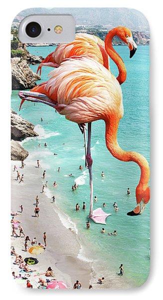 Flamingos On The Beach IPhone Case