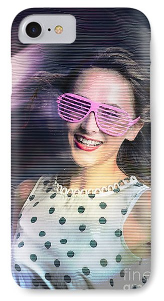 Flashback Of The Retro Hologram Girl IPhone Case by Jorgo Photography - Wall Art Gallery
