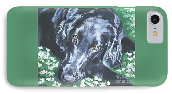 IPhone Case featuring the painting Flat Coated Retriever by Lee Ann Shepard