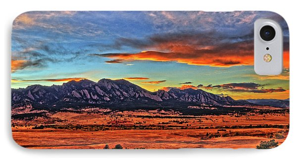IPhone Case featuring the photograph Flatiron Sunset Fire Red by Scott Mahon