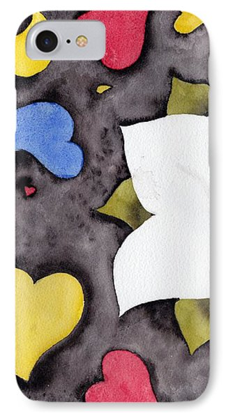 IPhone Case featuring the painting Fleur Et Coeurs by Marc Philippe Joly