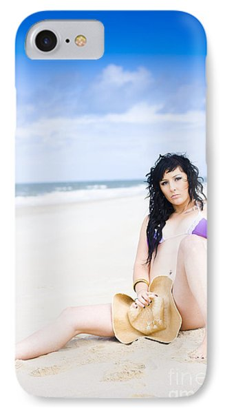 Flirtatious Beach Portrait IPhone Case