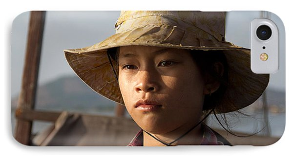 Floating Drink Seller Girl On The Tonle  Sap Lake In Cambodia IPhone Case by Jason Rosette