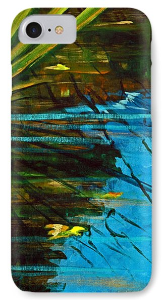 IPhone Case featuring the painting Floating Gold On Reflected Blue by Suzanne McKee
