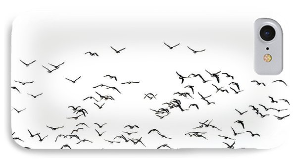 Flock Of Beautiful Migratory Lapwing Birds In Clear Winter Sky I IPhone 7 Case by Matthew Gibson