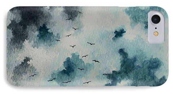 Flock Of Birds Against A Dark Sky  Phone Case by Michael Vigliotti