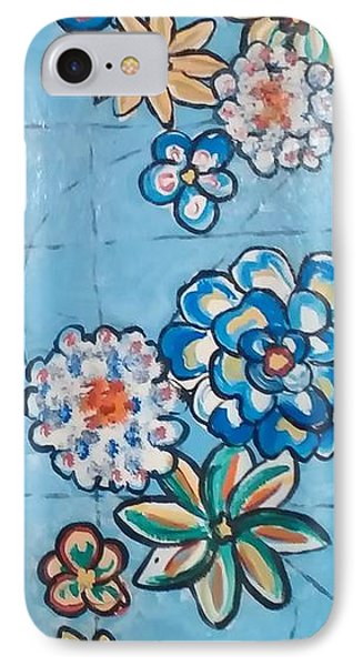 Floor Cloth Blue Flowers IPhone Case by Judith Espinoza