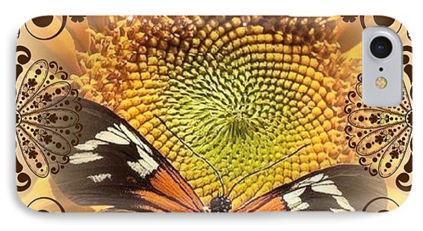 Floral Framed Brown Butterfly IPhone Case by Catherine Lott