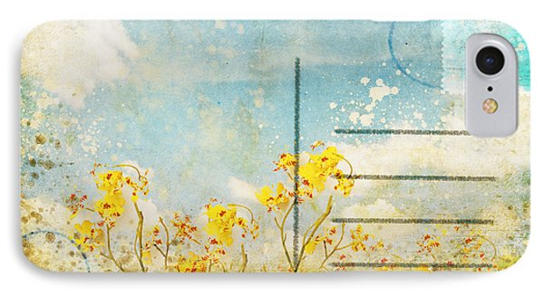 Floral In Blue Sky Postcard IPhone Case by Setsiri Silapasuwanchai