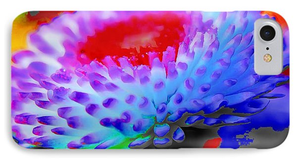 Floral Rainbow Splattered In Thick Paint IPhone Case by Catherine Lott