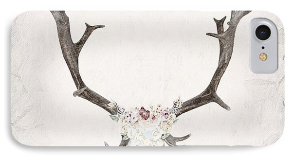 Floral Reindeer Skull  IPhone Case
