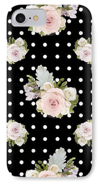 Floral Rose Cluster W Dot Bedding Home Decor Art IPhone Case by Audrey Jeanne Roberts
