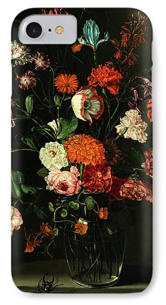 Floral Still Life In A Niche With Stag Beetle IPhone Case by Peter van Kessel