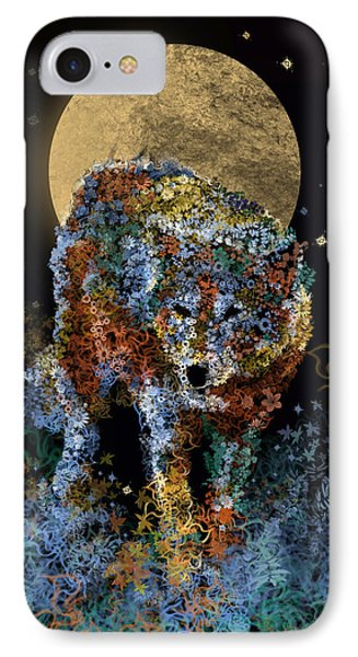 Floral Wolf 6 IPhone Case by Bekim Art