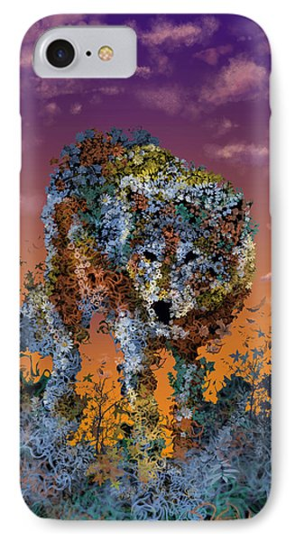 Floral Wolf T IPhone Case by Bekim Art