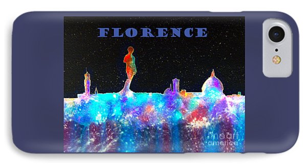 Florence Italy Skyline - Blue Banner IPhone Case by Bill Holkham