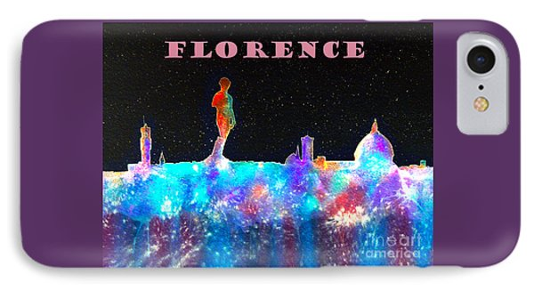 Florence Italy Skyline - Mauve Banner IPhone Case by Bill Holkham