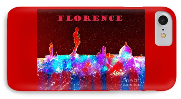 Florence Italy Skyline - Red Banner IPhone Case by Bill Holkham