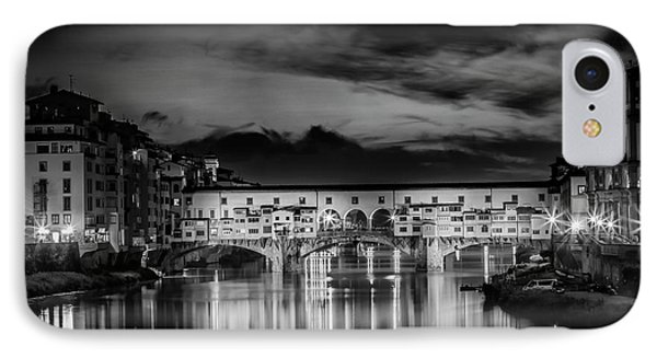 Florence Ponte Vecchio At Sunset Monochrome IPhone Case by Melanie Viola