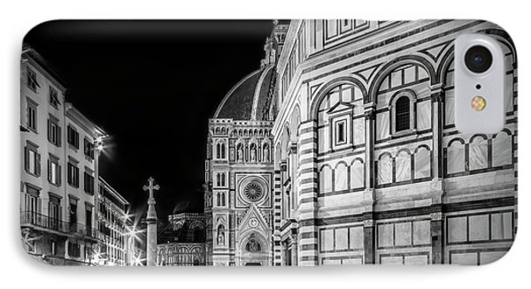 Florence Saint Mary Of The Flowers And Baptistery In Monochrome IPhone Case by Melanie Viola