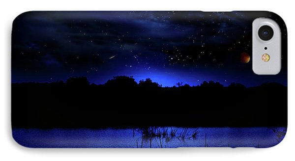 Florida Everglades Lunar Eclipse IPhone Case by Mark Andrew Thomas